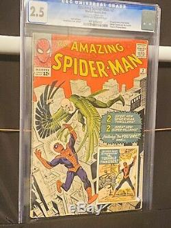 1963 AMAZING SPIDER-MAN #2 CGC 2.5 1st appearance Vulture HOT KEY OW-WHITE
