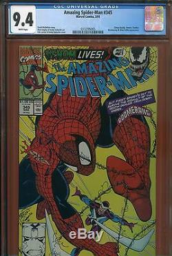 5- 1991 The Amazing Spiderman #345 Cgc 9.4 White Pages Brand New Case Look Lot