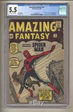 AMAZING FANTASY 15 (CGC 5.5) ORIGIN & 1ST SPIDER-MAN, OWithWHITE PGS 8,1962 MARVEL