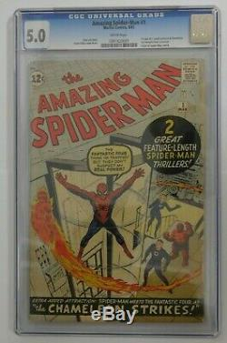 AMAZING SPIDER-MAN #1 CGC Graded 5.0 White Pages Marvel 1963 Vintage Comic
