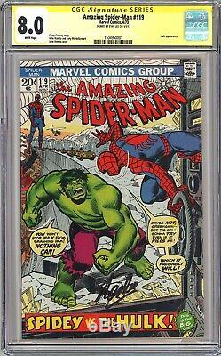 AMAZING SPIDER-MAN 119 CGC 8.0 SS Signed STAN LEE WP White Pages