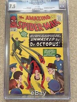 AMAZING SPIDER-MAN #12 CGC VF- 7.5 White pg! 3rd app. Doctor Octopus