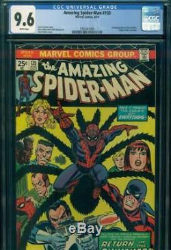 AMAZING SPIDER-MAN #135 CGC 9.6 NM+ NEAR MINT+ WHITE 2nd PUNISHER Marvel Comics