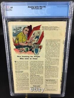 AMAZING SPIDER-MAN #15 1964 CGC 4.0 White Pages Kraven the Hunter 1st Appearance