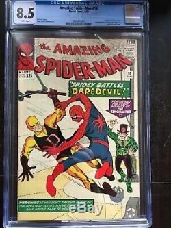 AMAZING SPIDER-MAN #16 CGC VF+ 8.5 White pg! Spider-Man vs Daredevil