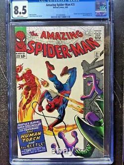 AMAZING SPIDER-MAN #21 CGC VF+ 8.5 White pg! Human Torch & Beetle