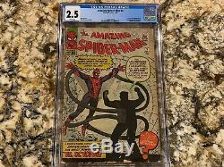 AMAZING SPIDER-MAN # 3 CGC 2.5 RARE WHITE PAGES 1st DOC OCK LOOKS NICER INVEST