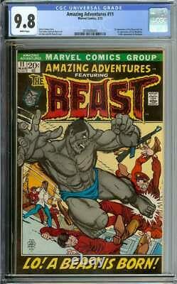 Amazing Adventures #11 Cgc 9.8 White Pages // Origin + 1st Appearance Beast 1972