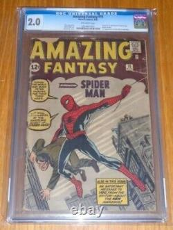 Amazing Fantasy #15 Cgc 2.0 Aug 1962 Off-white Pages 1st App Spider-man (sa)
