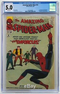 Amazing Spider-Man 10 CGC 5.0 White Pages! 1st Big Man & Enforcers Kirby / Ditko