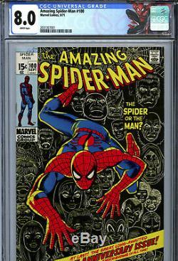 Amazing Spider-Man #100 (1971) Marvel CGC 8.0 White 100th Anniversary