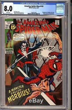 Amazing Spider-Man 101 CGC 8.0 White 1st Morbius