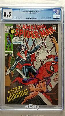 Amazing Spider-Man #101 CGC 8.5 VF+ 1st App Morbius WHITE