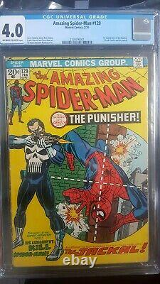 Amazing Spider-Man #129 CGC 4.0 Origin & 1st App Punisher. Off White-White Pages