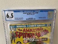 Amazing Spider-Man #129 CGC 6.5 WHITE PAGES First Appearance Punisher Big Key