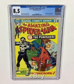 Amazing Spider-Man #129 CGC 8.5 WHITE! CENTERED! KEY! (1st Punisher) 1974 Marvel