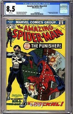 Amazing Spider-Man 129 CGC 8.5 White 1st Punisher