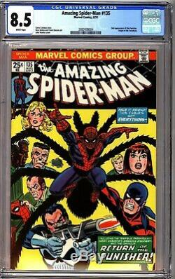 Amazing Spider-Man 135 CGC 8.5 White pages 2nd Appearance of The Punisher