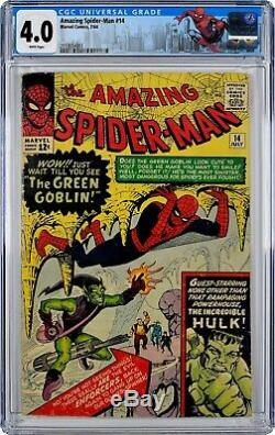 Amazing Spider-Man #14 (1964) CGC 4.0, White Pages! Mint Case! 1st GREEN GOBLIN