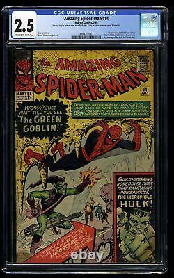 Amazing Spider-Man #14 CGC GD+ 2.5 Off White to White 1st Green Goblin