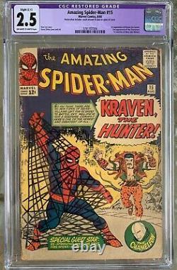 Amazing Spider-Man #15 (1964) CGC 2.5 - O/w to white pgs 1st Kraven restored