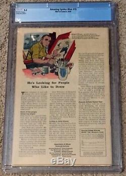 Amazing Spider-Man #15 1st Kraven The Hunter CGC 4.5 VG+ WHITE Pages