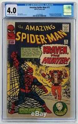 Amazing Spider-Man #15 CGC 4.0 VG Off-White/White Pages! 1st Kraven the Hunter