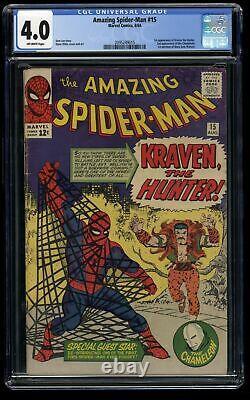 Amazing Spider-Man #15 CGC VG 4.0 Off White 1st Kraven the Hunter
