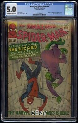 Amazing Spider-Man (1963) #6 CGC 5.0 Blue Label Cream To Off-White 1st Lizard