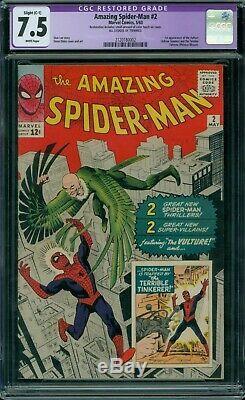 Amazing Spider-Man 2 CGC 7.5 White Pages Restored