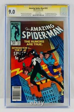 Amazing Spider-Man #252 CGC 9.0 White Pages Newsstand Signed by Stan Lee VF/NM