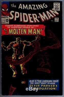 Amazing Spider-Man #28 CGC 5.5 WHITE pages Origin & 1st app. Of the Molten Man