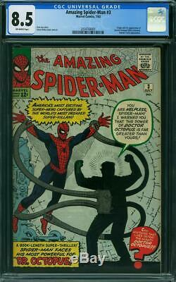 Amazing Spider-Man #3 CGC 8.5, OFF White Pages, 1st App Doc Ock, Comic Book