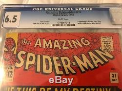 Amazing Spider-Man #31 1st Gwen Stacy Marvel Comics, CGC 6.5 RARE WHITE PAGES