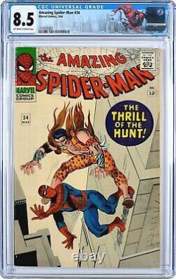 Amazing Spider-Man #34 (1966) 8.5, Mint Case! Off-White To White! Ditko! KRAVEN