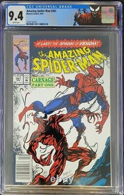 Amazing Spider-Man #361 CGC 9.4 NM+ 1st Carnage! Cover centered White Pgs