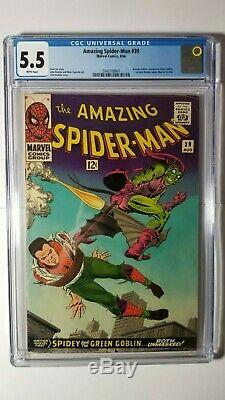Amazing Spider-Man #39 CGC 5.5 FN- WHITE 1st John Romita in title 1966