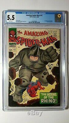 Amazing Spider-Man #41 CGC 5.5 FN- WHITE 1st App Rhino 1966