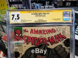 Amazing Spider-Man #41 CGC SS 7.5 White Pages Signed by Stan Lee 1st App Rhino