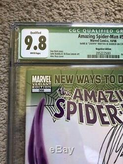 Amazing Spider-Man 568 Negative Variant Signed by Alex Ross Qual CGC 9.8 White