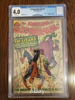 Amazing Spider-Man #6 CGC 4.0 Off White Pages! 1st Lizard Appearance No Reserve