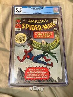 Amazing Spider-Man #7 CGC 5.5 Off White Pages 2nd Vulture