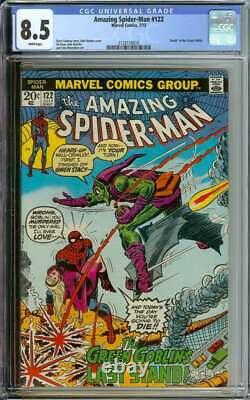 Amazing Spider-man #122 Cgc 8.5 White Pages // Death Of Green Goblin 1973