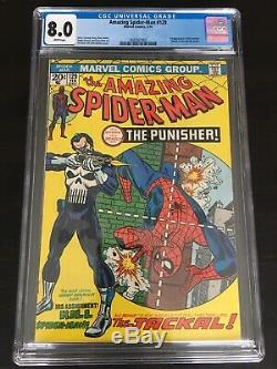 Amazing Spider-man 129 CGC 8.0 WHITE Pgs. 1st Punisher Nice Copy No Reserve