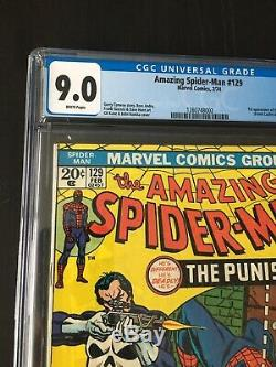 Amazing Spider-man 129 CGC 9.0 White Pages 1st Punisher Key