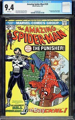 Amazing Spider-man 129 CGC 9.4 NM Near Mint White Pages Marvel 1974 1st Punisher
