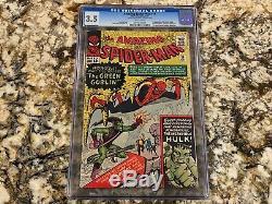Amazing Spider-man #14 Cgc 3.5 Rare White Pg 1st Green Goblin Hulk App Huge Key