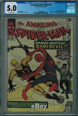 Amazing Spider-man #16 1st Daredevil Crossover! Off-white Pages 1964