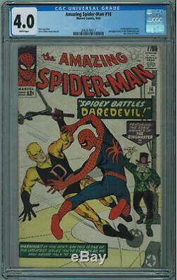 Amazing Spider-man #16 Cgc 4.0 1st Daredevil X-over White Pages 1964