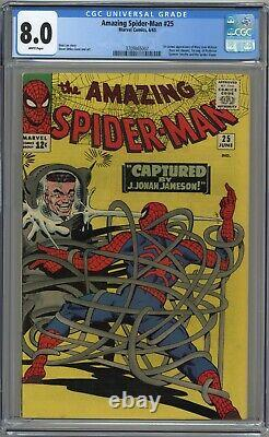 Amazing Spider-man #25 Cgc 8.0 1st Mj Cameo! White Pages 1965